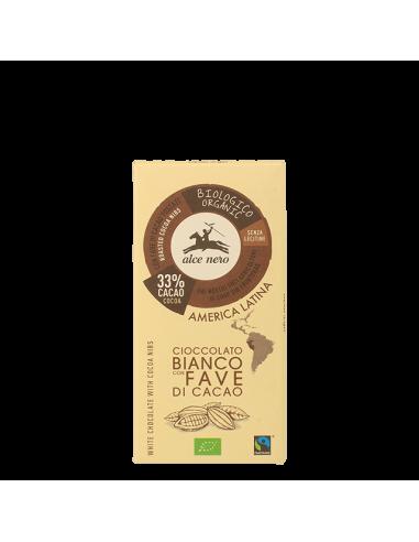 Шоколад білий з шматочками какао бобів Alce Nero, Bio, 100г