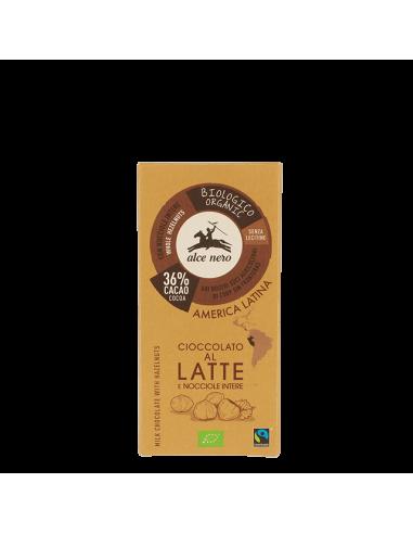 Шоколад молочний з лісовими горіхами (36%) 100 г - Alce Nero