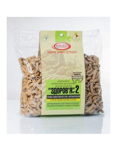 """Макарони """"Здоров'я"""", № 2 тв.сорт пшениці з ж.отр, 400г."""