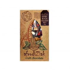 Плитка екстра чорний шоколад 86% з мигдалем та полуницею, Afrodiziak, 80г