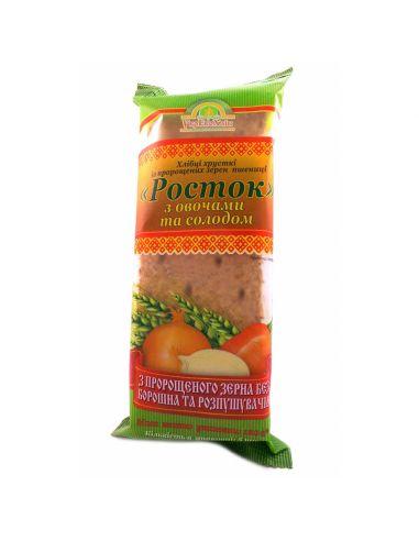 Хлібці з пророщеної пшениці з овочами і солодом, Росток, 120г