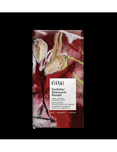 Шоколад чорний з мигдалем і карамеллю, Vivani, 80г