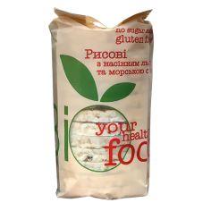 Хлібці рисові з насінням льону та морскою сіллю, Biofood, 100г