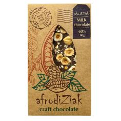 Плитка молочний шоколад, 60% з лісовим горіхом, Afrodiziak, 80г