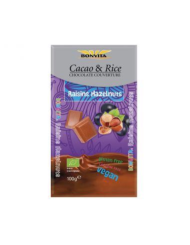 Шоколад з родзинками і горіхами на рисовому молоці, BonVita, 100г.