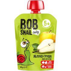 Пюре фруктове яблуко-груша, для дітей від 5 міс., гомогенізоване, Равлик Боб, 90г
