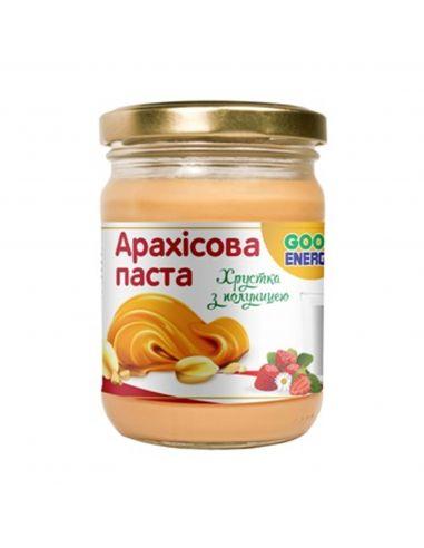 Паста арахісова хрустка з полуницею, GoodEnergy, 250г.