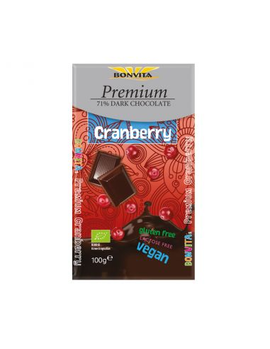 Шоколад чорний 71% з журавлиною без лактози і глютену, BonVita, 100г.