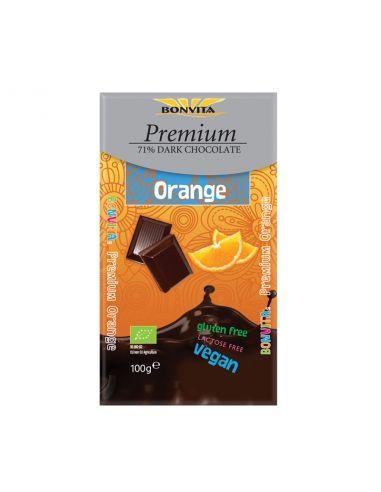Шоколад чорний 71% з шматочками апельсина, BonVita, 100г.