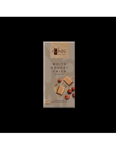 Шоколад белый органический Нуга крисп , iChoc, 80г.